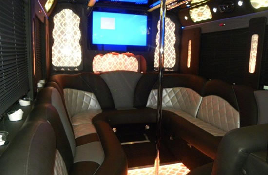 50 passenger limo party bus interior